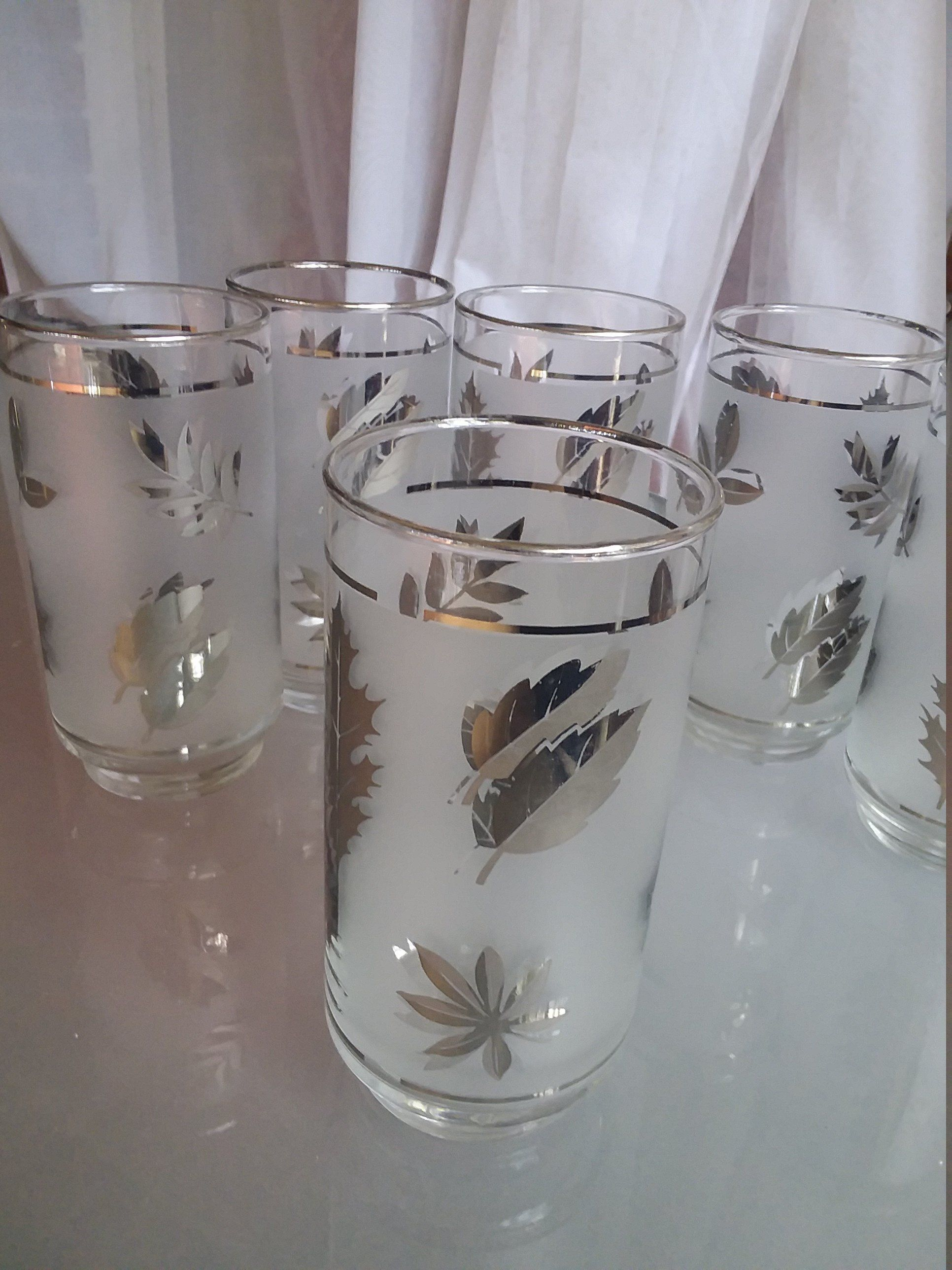 Libbey Frosted Silver Leaf Glasses, Set of Six Tumblers ...
