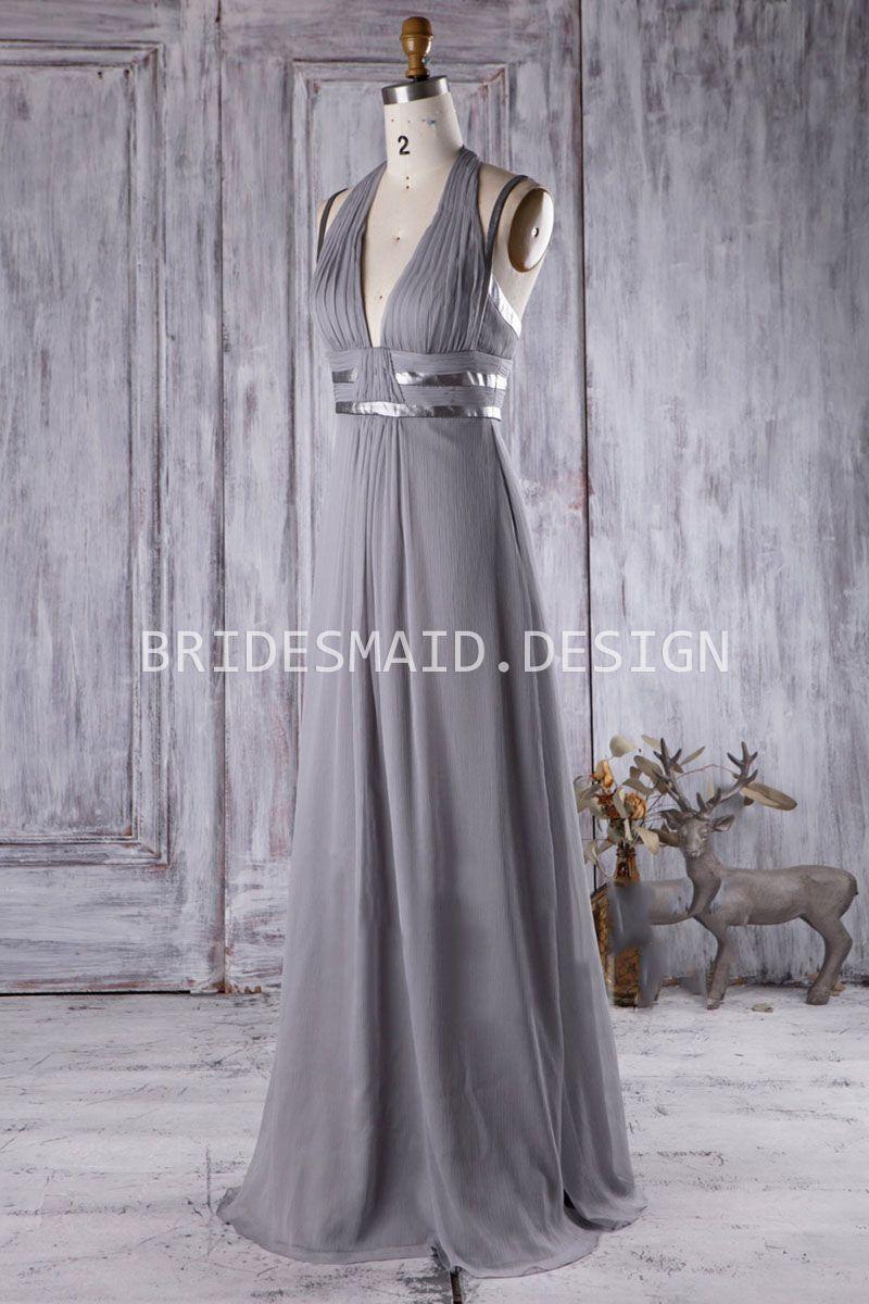 V neck sexy backless grey chiffon halter neck long bridesmaid dress