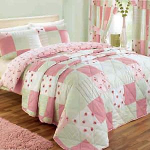 Patchwork Quilted Floral Bedspread Single Double King Pink Blue Green Lilac Duvet Bedding Duvet Sets Bed Spreads