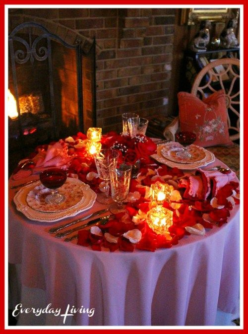 Romantic Table For Two Romance Roses Everyday Living Romantic Dinner Tables Romantic Table Romantic Dinner Setting