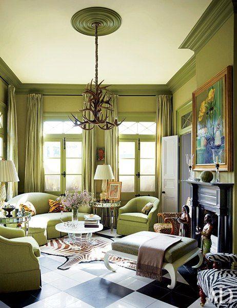 Green and Zebra animal print living room - fantastic.