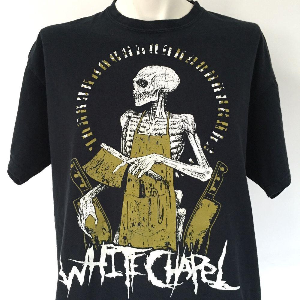 Whitechapel XL Skeleton Butcher Faded Black T Shirt. Wicked Death ...