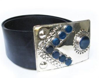 leather belt ARROW -  Big agata stones in alpaca german silver hand embossed buckle