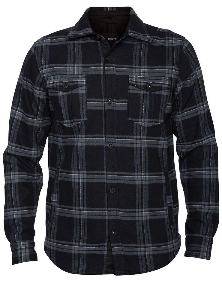 e37190b5786 Black - Hurley Pivot Fleece Shirt Jacket - Polar fleece lined plaid snap  button down flannel with hand warmer pockets.  75