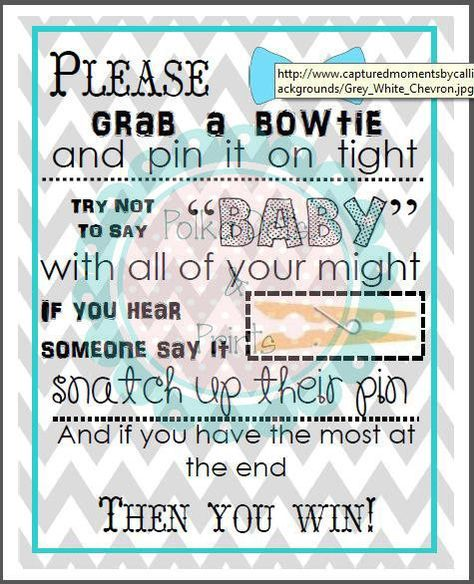 Baby Shower Clothes Pin Game Amusing Printable Bowtie Themed Baby Shower Gamefits In An 8X10 Frame Inspiration Design