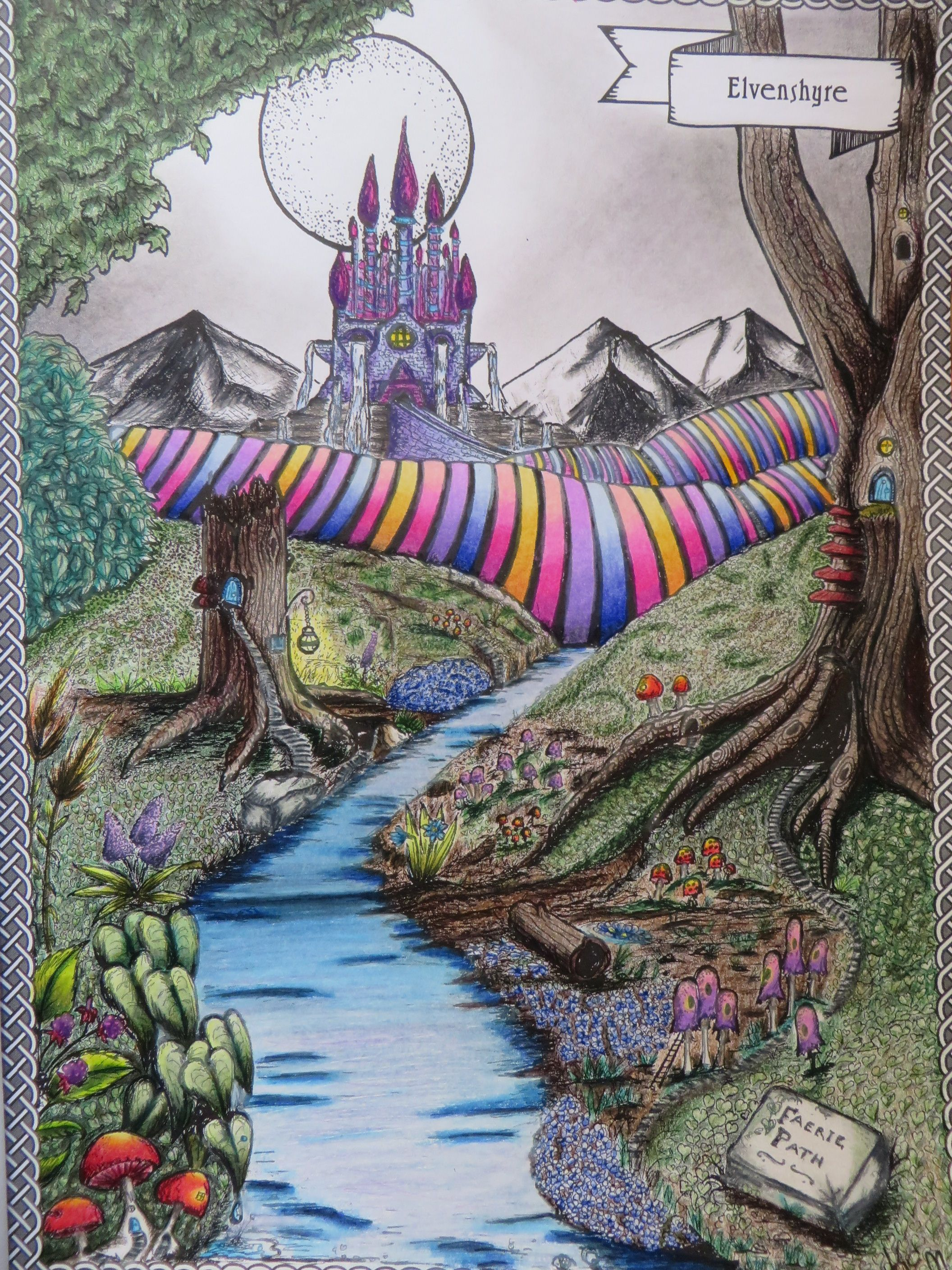 4.- Elvenshyre. They left the village to head for the castle... and found this lovely view on their way :) #LandsofUchanda #Uchana #Coloring #ColoringBook #Prismacolor