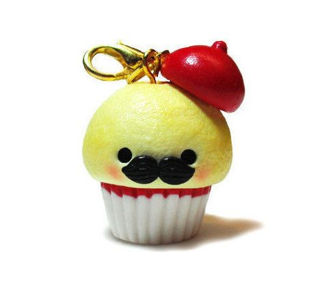 Kawaii French Monsieur Cupcake, Miniature Food Jewelry, Polymer Clay Charms, Polymer Clay Cupcake, Polymer Clay Food Jewelry Kawaii Keychain