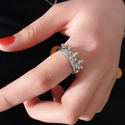 Menor Preço Womens Oco Rainha Coroa de Strass Prata Banhado Casamento Anel Jóias 89ZY