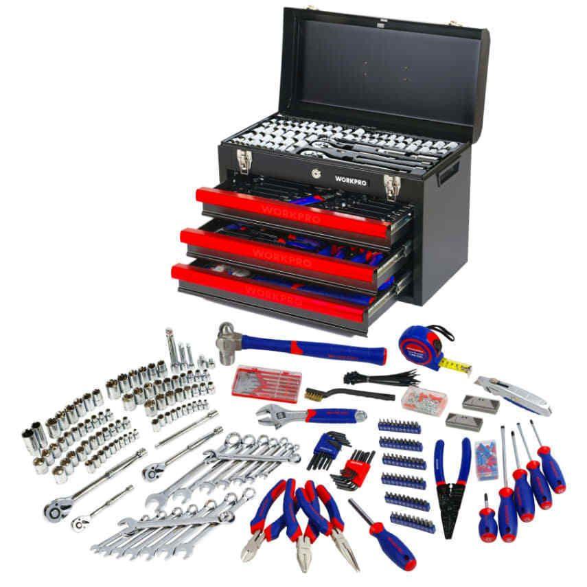 WORKPRO 408PC Handtool Set 3-Drawer Metal Box Repair Tool Kit Mechanics Toolset [[CONTENT]]. | eBay!