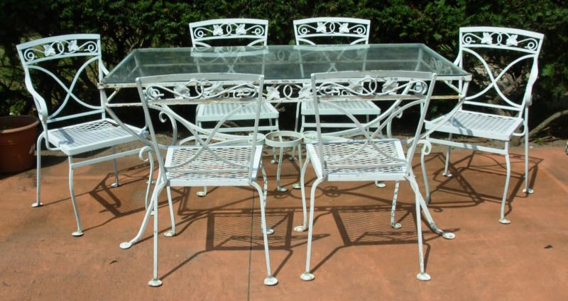 A Salterini 7 Pc Wrought Iron Dining Set, Mt Vernon / Joan Bogart ·  SalteriniVintage PatioDining ...