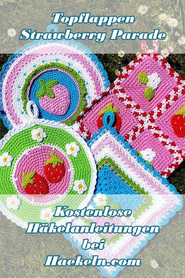 Topflappen häkeln Strawberry Parade • Kostenlos H #crochetyarn