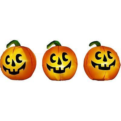Inflatable Pumpkin Pathway Markers 3pc Halloween Decoration Lights - inflatable halloween decoration