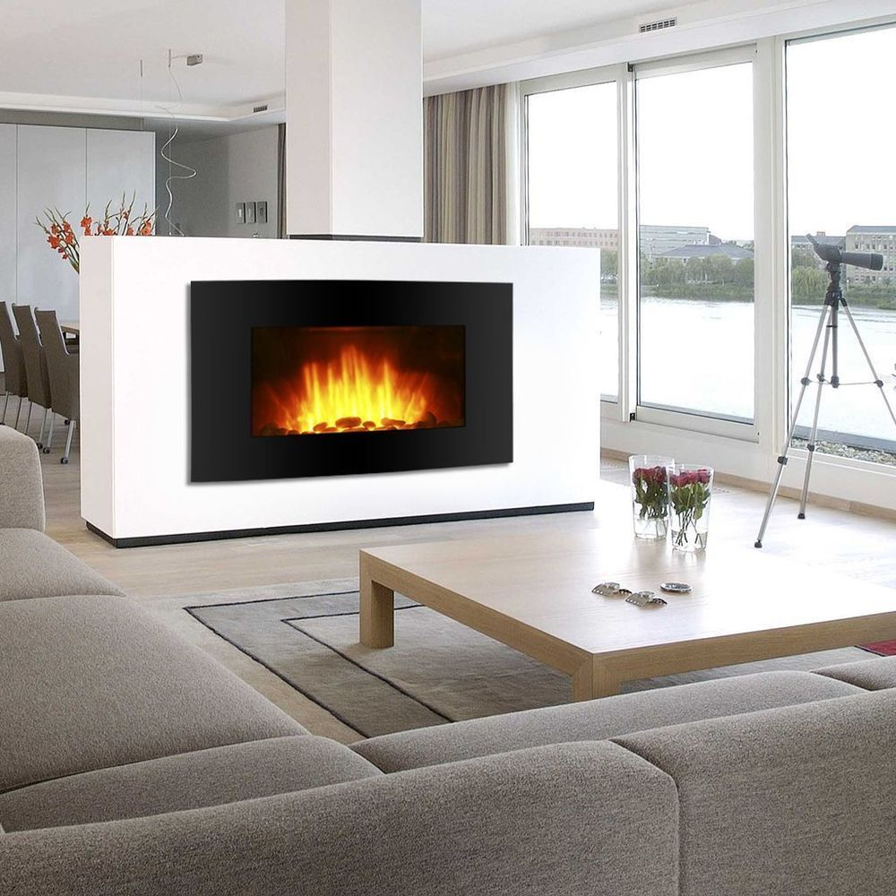 Black Electric Fireplace Wall Mount Heater Screen Color Changing ...