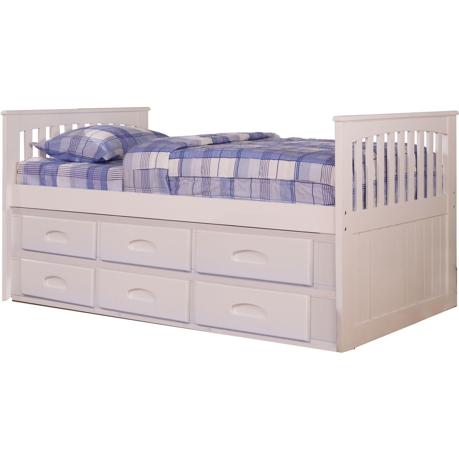 Cambridge Hillcrest White Twin Size Bed Frame With Build In Storage
