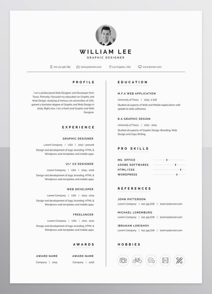 a simple  clean  minimal and professional design of resume