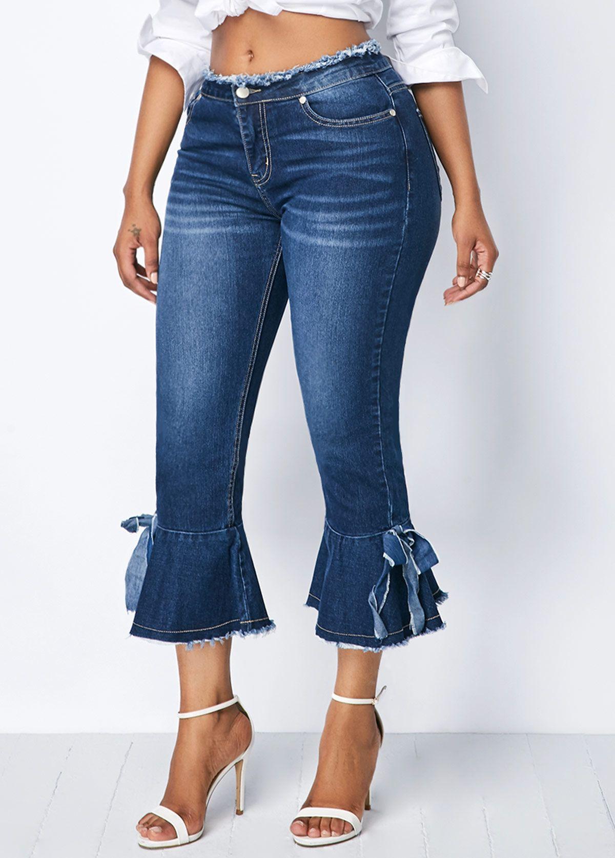 073077b10ec69 Frayed Hem Zipper Fly Bowknot Detail Denim Pants | Rotita.com - USD $34.88