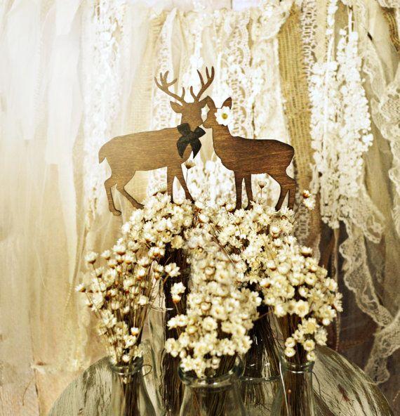deer cake topper hunting themed weddings buck doe bride and groom ...