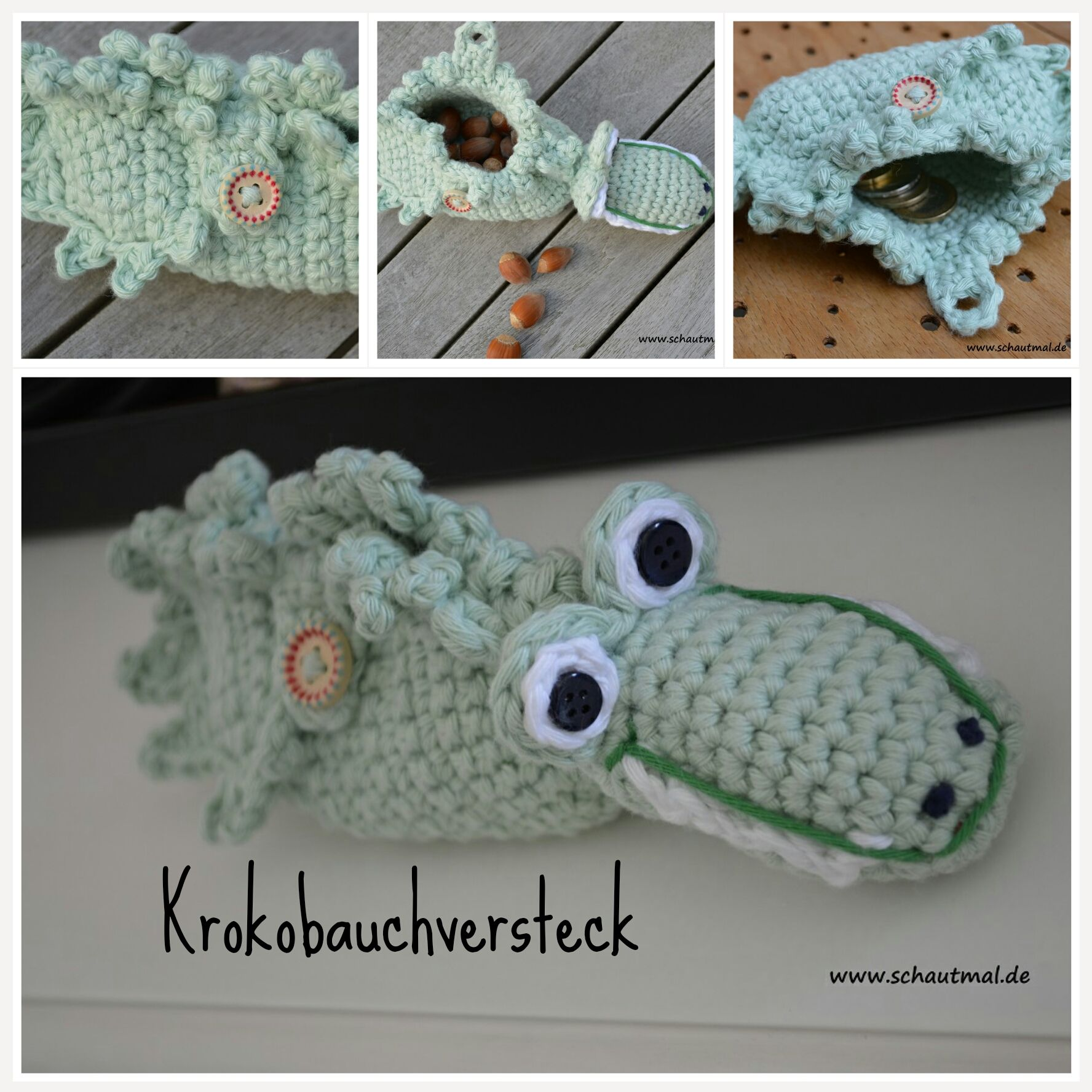 Krokobauch-Versteck. Gratis Häkelanleitung von www.schautmal.de ...