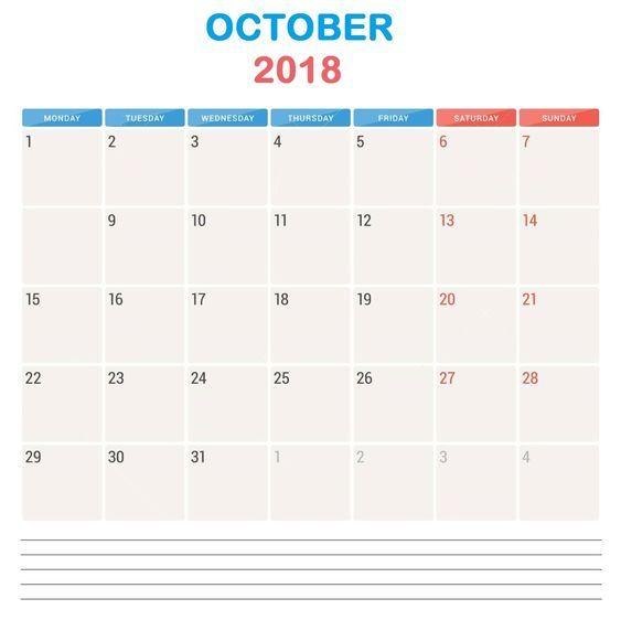 free october 2018 notes calendar 2018 Calendars Pinterest