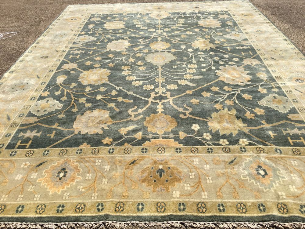 9x12 Rug New Hand Knotted Wool Woven Blue Ushak Oushak Persian