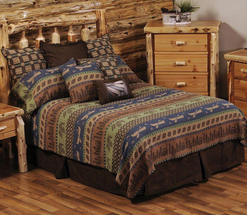 Lakeshore Deluxe Bed Set Queen Cabin & Canoe Fair Isle