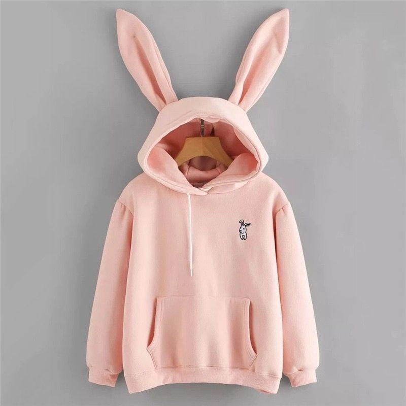 Womens Cute Rabbit Ears Hooded Kawaii Hoodies Students Girls Loose Warm Pullover