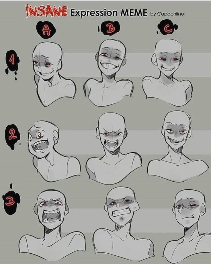 Anime Art Reference Tutorials On Instagram Your Favorite Expression Credits To Capochiino Art Reference Poses Drawing Expressions Drawing Face Expressions