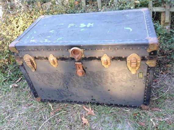 Brustkorb Vintage Gross 34 X 20 Holz Messing Metall Kisten Kiste