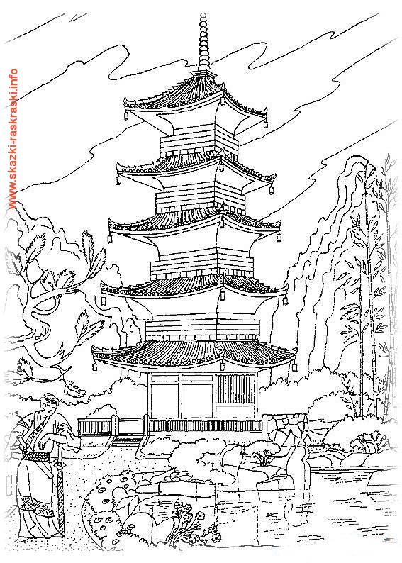 раскраска китайский храм Colourings Coloring Pages To