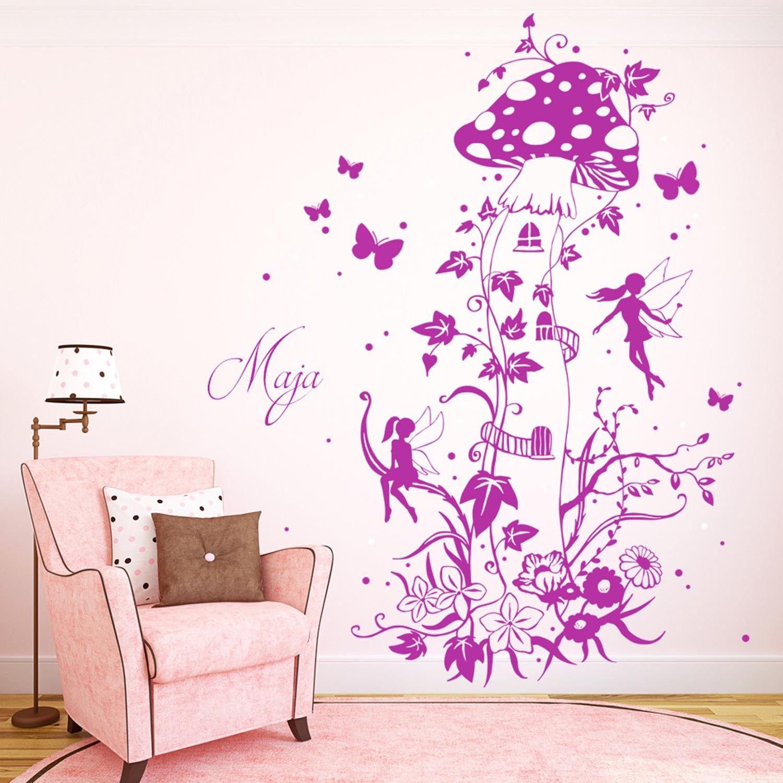 Marvelous Wandtattoo Elfen und Feen mit Pilzhaus Schmetterlinge Blumen und Wunschnamen M Wandtattoos Elfent r Tassen