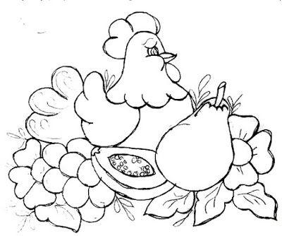 Desenho De Galinha Com Frutas Para Pintar Em Tecido Riscos Para