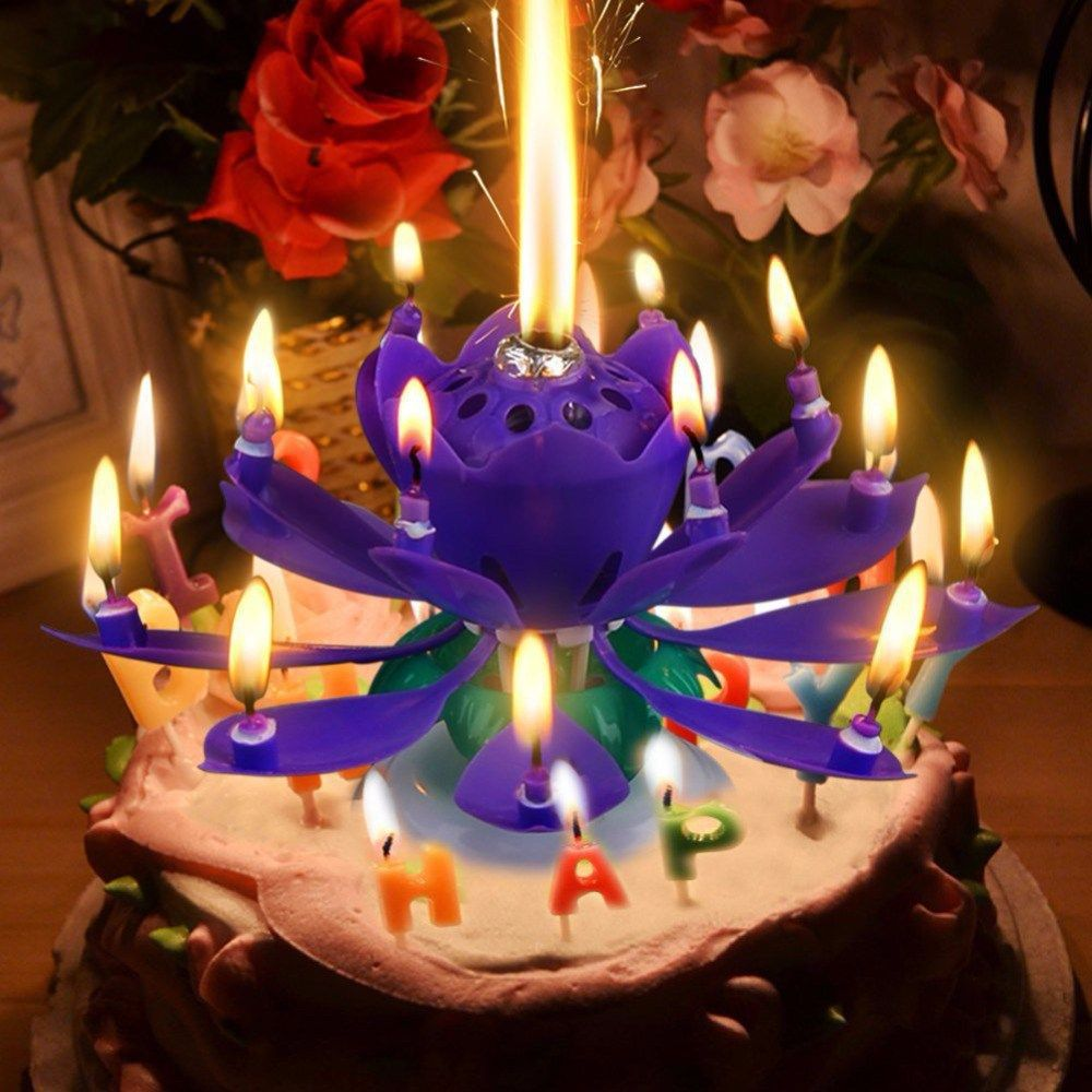 Magic Lotus Flower Candle Rotating Birthday Musical Lotus Flower Cake Candle US