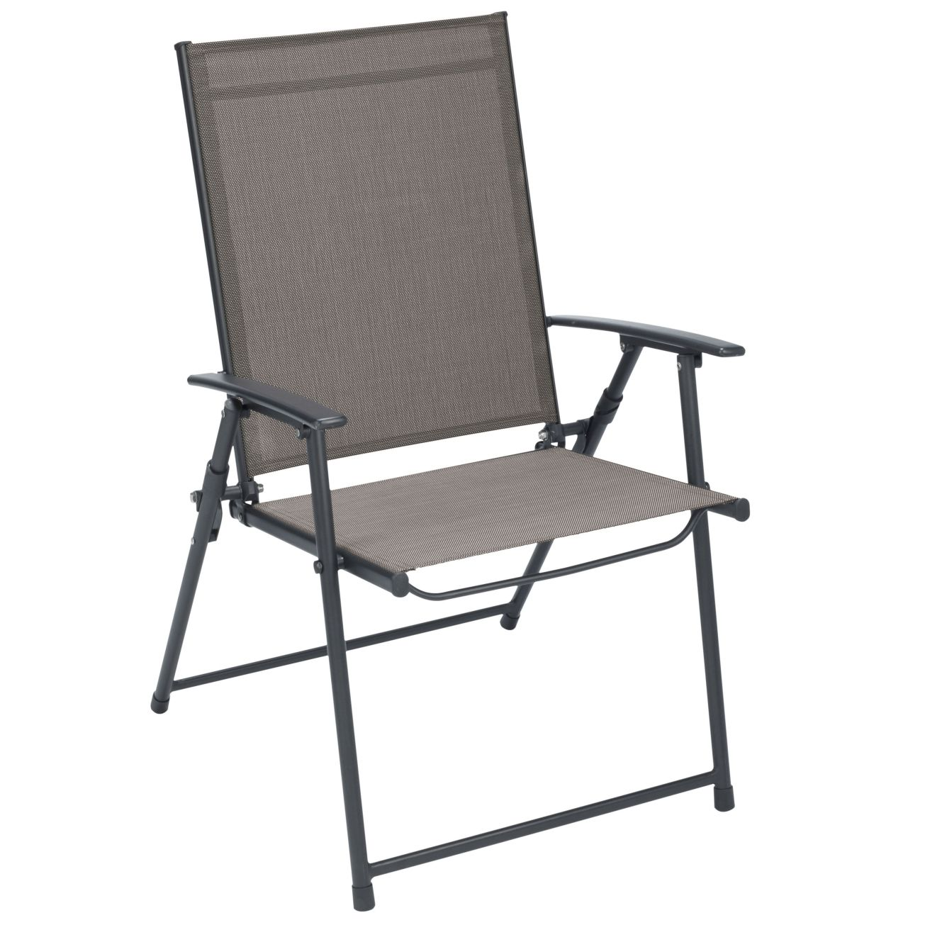 Tan Folding Sling Chair Set Of 4 Outdoor Dining Chairs