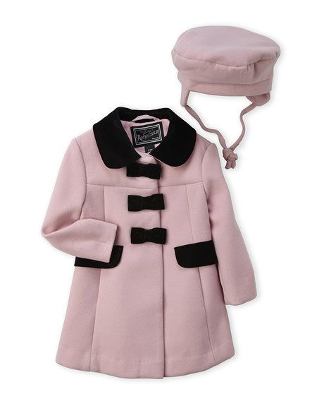 ROTHSCHILD (Infant Girls) Two-Piece Bow Front Coat & Hat Set