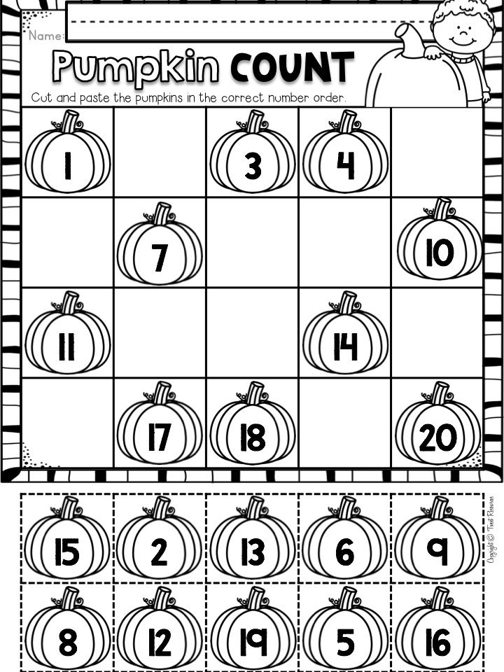 Fall Math and Literacy No Prep Printables for Kindergarten