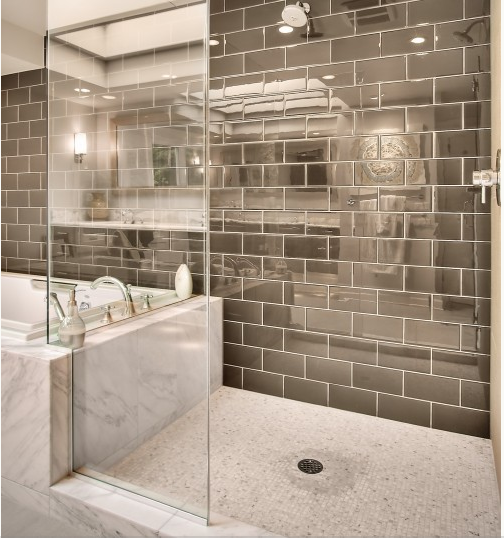 Large Subway Tiles Bathroom: Large Gray Subway Tile. Transition From Tub To Shower