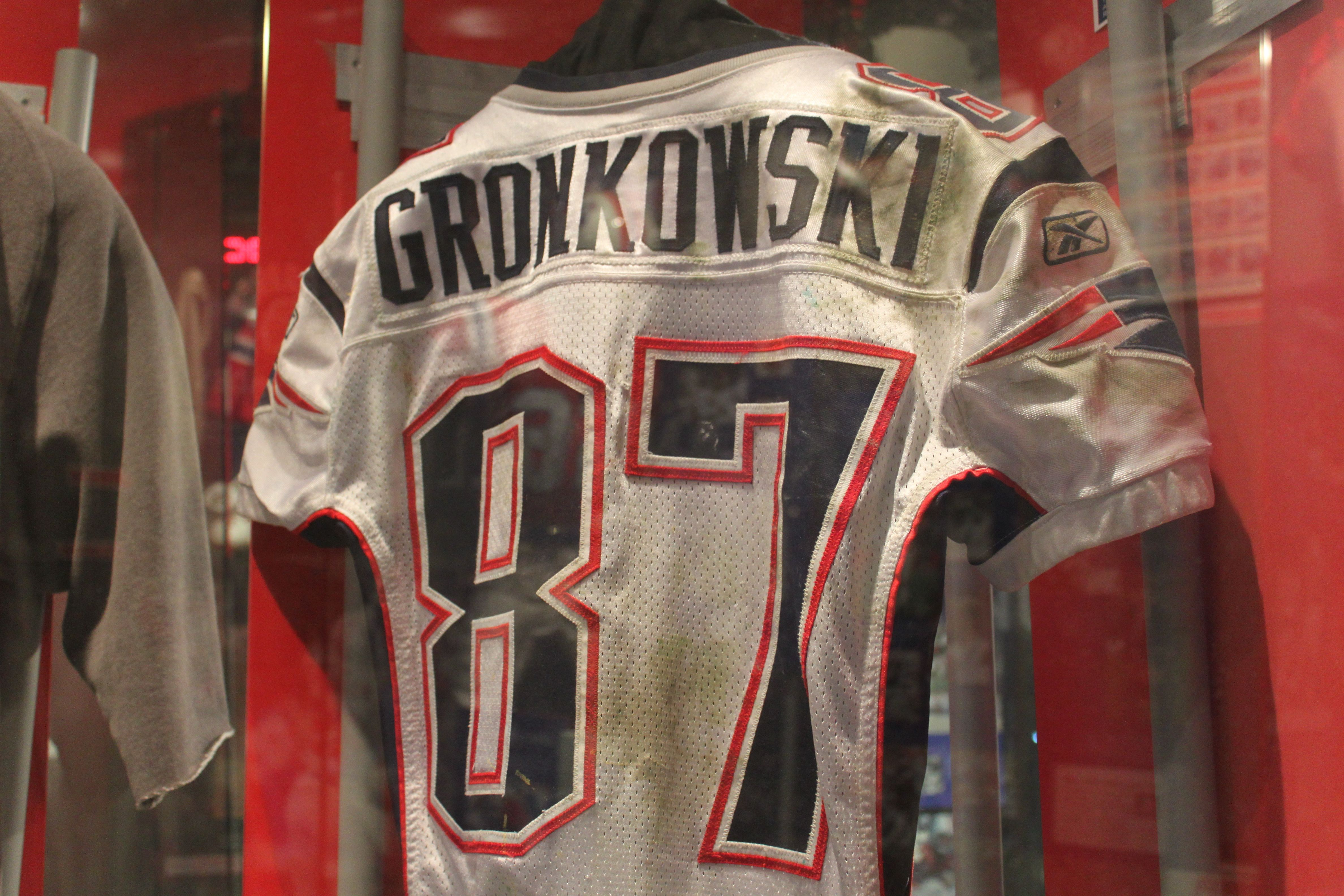 Rob Gronkowski's game jersey worn when he set an NFL record for touchdown receptions by a tight end against the Redskins.