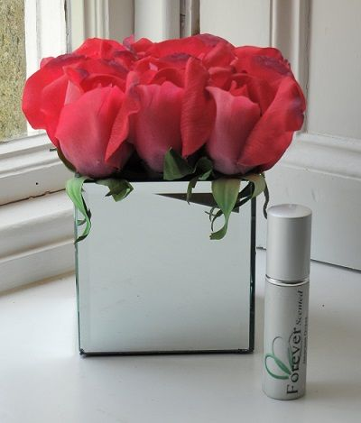 Purple Gloss Cube Vase Filled With Four Real Touch Silk Red Rose