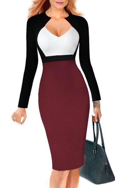 Trendy Color Block Long Sleeve Bodycon Midi Dress For Women