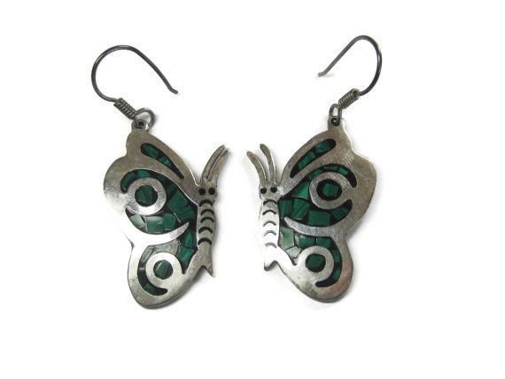 Vintage Malachite Butterfly Earrings Mexican by BejeweledEmporium