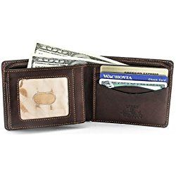 d22456d74c5c7c Tony Perotti Mens Italian Cow Leather [Personalized Initials Embossing]  Express Bifold Wallet with Front ID Window Flap in Brown
