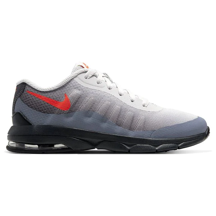GreyRed Nike Air Max Invigor Childrens Trainers | Red
