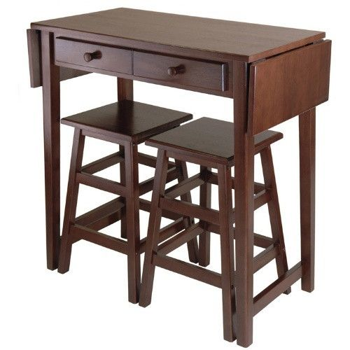 Winsome Mercer 3 Piece Double Drop Leaf Small Table Set With Nesting Stools    Pub Tables