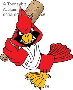 Clipart Cartoon Cardinal Playing Baseball Acclaim Stock