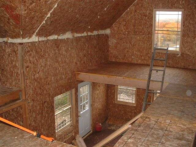 Cabin Loft Wood Small Loft area showing SIPpanels and