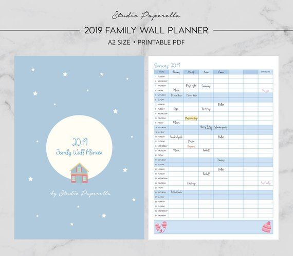2019 Family Wall Planner, Monthly Wall Calendar, Family Calendar