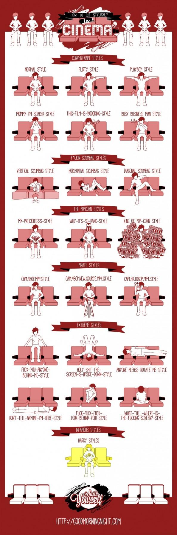 #infografia Cómo sentarse con estilo en un cine | How To Sit Stylishly In Cinema #Infographic