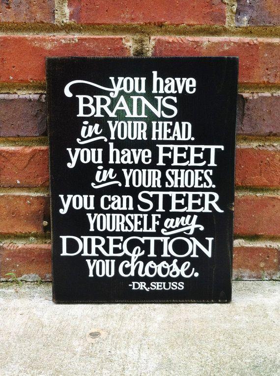 Distressed Graduation Sign You have Brains - #WORKLAD