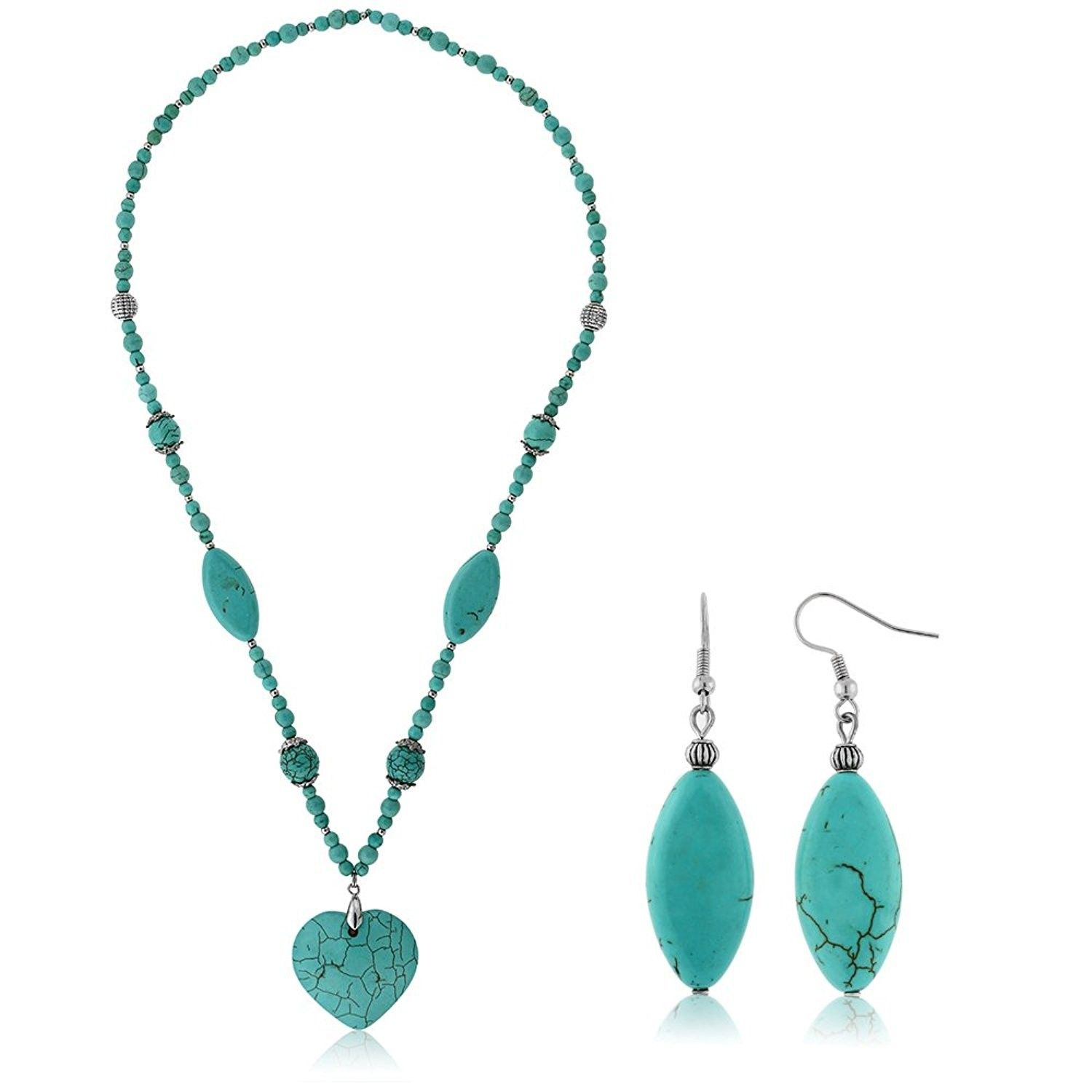 24 Simulated Turquoise Howlite Necklace With Heart Shape