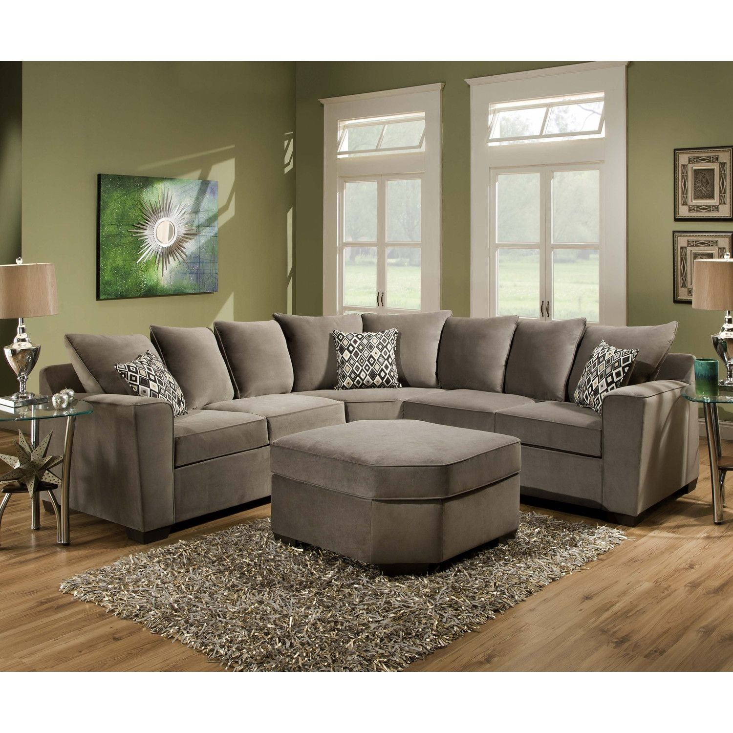 Plush Fabric Sectional Sofas